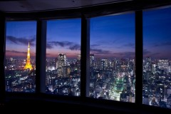 View of the Tokyo Tower from the lobby of Park Hotel