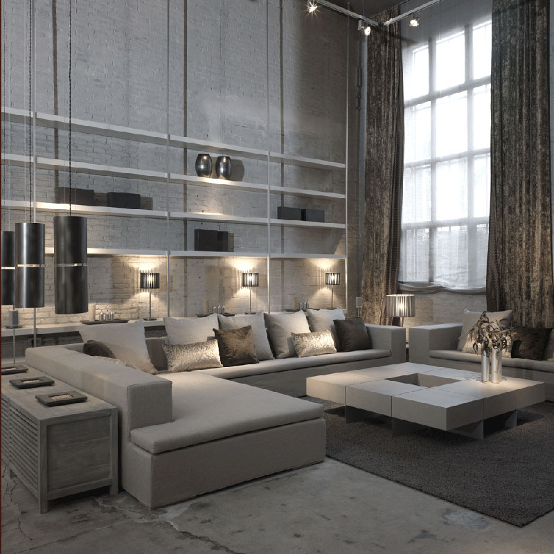 Joan lao balance between quality design and environment for Living room ideas white and grey