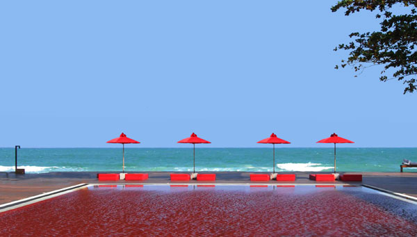 Red pool at The Library Hotel Thailand @RuarteContract