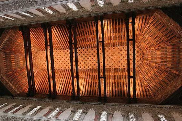 Artesonado mudéjar Sinagoga del Tránsito Toledo @RuarteContract