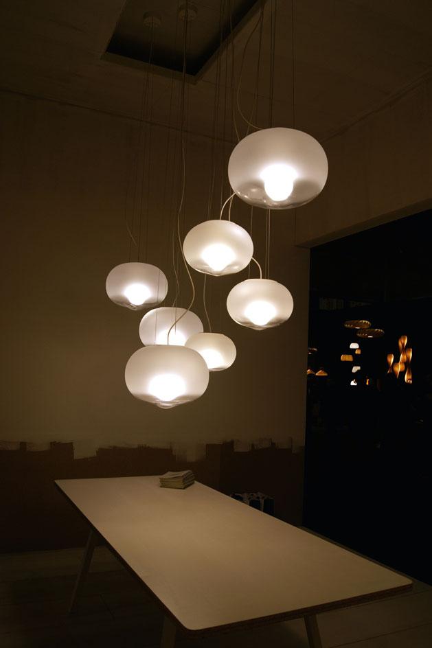 Furniture isaloni 2015 @RuarteContract Berlin-based designer Uli Budde's new 'Hazy Day' lamp graced the stand of Spanish lighting brand Marset