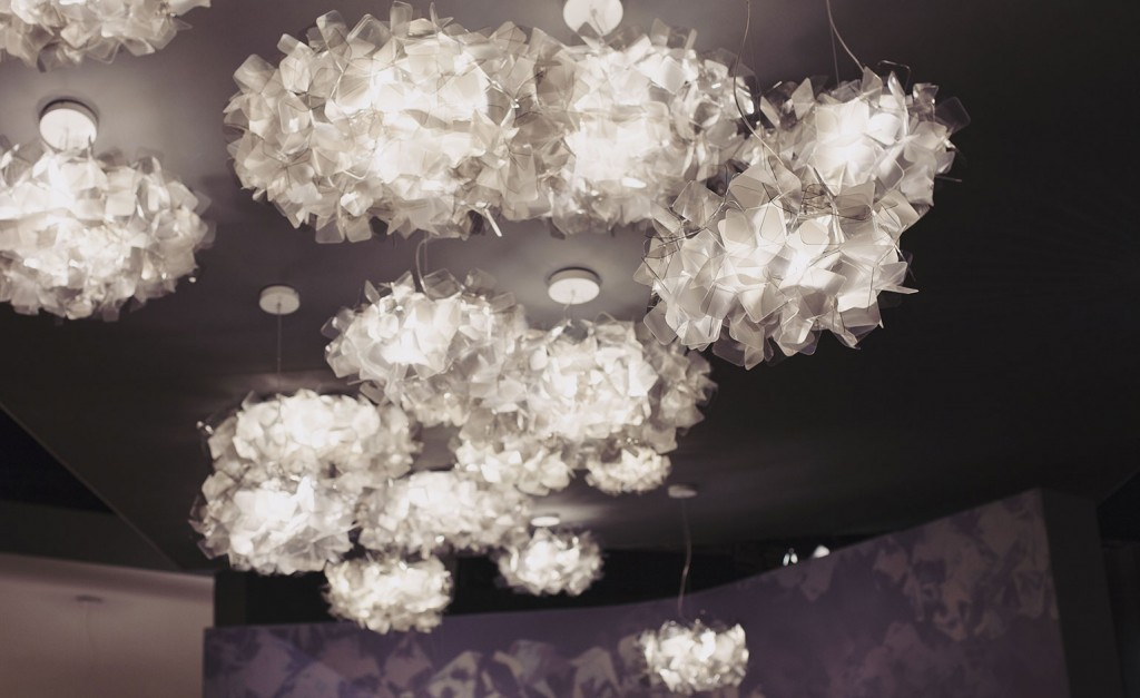 Furniture isaloni 2015 Slamp's cloud-light lamps by Adriano Rachele radiate iridescent reflections in a rather modern yet decidedly romantic way @RuarteContract